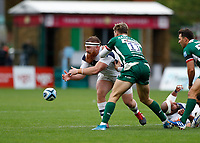 4th October 2020; Twickenham Stoop, London, England; Gallagher Premiership Rugby, London Irish versus Bristol Bears; Jake Woolmore of Bristol Bears passing the ball as tackled by Ollie Hassell-Collins of London Irish