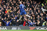 Chelsea fans celebrate Mason Mount scoring his side's first goal<br /> <br /> <br /> Photographer Stephanie Meek/CameraSport<br /> <br /> The Premier League - Chelsea v Everton - Sunday 8th March 2020 - Stamford Bridge - London<br /> <br /> World Copyright © 2020 CameraSport. All rights reserved. 43 Linden Ave. Countesthorpe. Leicester. England. LE8 5PG - Tel: +44 (0) 116 277 4147 - admin@camerasport.com - www.camerasport.com