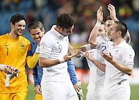 France's national team Olivier Giroud celebrates with Franck Ribéry and Hugo Lloris during match. October 16, 2012. (ALTERPHOTOS/Alvaro Hernandez) /NORTEPhoto