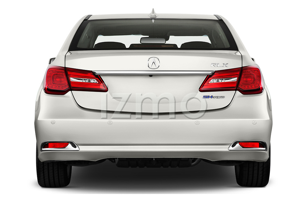 Straight rear view of 2017 Acura RLX Sport Hybrid 4 Door Sedan stock images