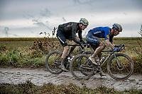 Davide Ballerini (ITA/Deceuninck - Quick Step) & Max Walscheid (DEU/Qhubeka NextHash) chasing <br /> <br /> 118th Paris-Roubaix 2021 (1.UWT)<br /> One day race from Compiègne to Roubaix (FRA) (257.7km)<br /> <br /> ©kramon