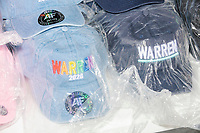 A vendor sold campaign buttons, shirts, and hats in support of Democratic presidential candidate and Massachusetts senator Elizabeth Warren before a campaign rally for the candidate at Rochester Opera House in Rochester, New Hampshire, on Mon., Feb. 10, 2020. This is the final day of campaigning before voting in the primary happens on Feb. 11. Warren has fallen to 4th or 5th place in recent polls.
