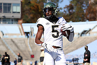 CHAPEL HILL, NC - NOVEMBER 14: Jaquarii Roberson #5 of Wake Forest catches a pass during pregame warmups before a game between Wake Forest and North Carolina at Kenan Memorial Stadium on November 14, 2020 in Chapel Hill, North Carolina.