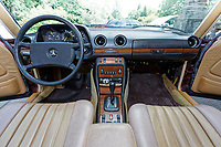 Interior view of a 1979 Mercedes W123 300 Turbo Diesel from Missouri in the USA, at Gliffaes Hotel near Abergavenny, Wales, UK. Friday 24 August 2019