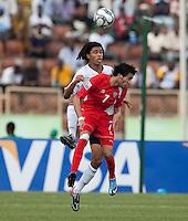 Zachary Herold heads the ball. US Under-17 Men's National Team defeated United Arab Emirates 1-0 at Gateway International  Stadium in Ijebu-Ode, Nigeria on November 1, 2009.