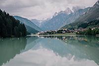The Dolomites as seen from Lake Santa Caterina<br /> <br /> stage 15: Tolmezzo – Sappada (176 km)<br /> 101th Giro d'Italia 2018