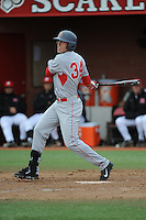 University of Houston Cougers outfielder Kyle Survance (34) during game game 1 of a double header against the Rutgers University Scarlet Knights at Bainton Field on April 5, 2014 in Piscataway, New Jersey. Rutgers defeated Houston 7-3.      <br />  (Tomasso DeRosa/ Four Seam Images)