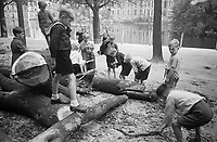 Photo from the NIOD's Huizinga collection. A group of children tries to collect firewood from some tree trunks opposite the Binnenhof because of the fuel shortage caused by the national railway strike