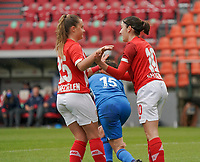 Standard's Davinia Vanmechelen (25) celebrates Standard's Noemie Gelders (10) for her goal during a female soccer game between Standard Femina de Liege and KRC Genk Ladies  on the third matchday of the 2020 - 2021 season of Belgian Womens Super League , Saturday 3 rd of October 2020  in Liege , Belgium . PHOTO SPORTPIX.BE   SPP   SEVIL OKTEM
