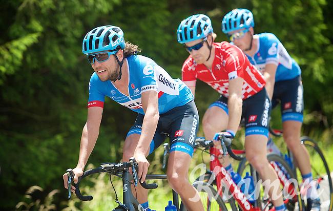 Thomas Dekker (NLD/Garmin-Sharp) escorting teammate/red jersey (points) Tyler Farrar (USA/Garmin-Sharp) in the peloton<br /> <br /> Ster ZLM Tour 2014