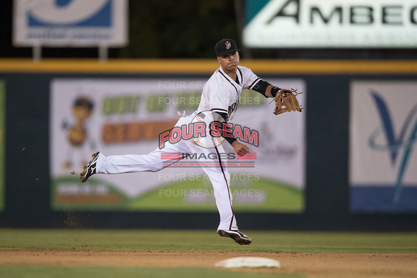 Modesto Nuts shortstop Bryson Brigman (8) follows through on a throw to first base during a California League game against the Lake Elsinore Storm at John Thurman Field on May 12, 2018 in Modesto, California. Lake Elsinore defeated Modesto 4-1. (Zachary Lucy/Four Seam Images)