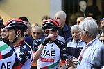 Dan Martin (IRL) and UAE Team Emirates arrives at sign on before the start of the 99th edition of Milan-Turin 2018, running 200km from Magenta Milan to Superga Basilica Turin, Italy. 10th October 2018.<br /> Picture: Eoin Clarke | Cyclefile<br /> <br /> <br /> All photos usage must carry mandatory copyright credit (© Cyclefile | Eoin Clarke)