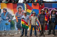 """Supporters of former Bolivian President Evo Morales, known as coca growers """"cocaleros"""", pose for a picture during a demonstration against the interim government, as they continued a road blockade in Sacaba, Chapare province, Bolivia. November 25, 2019.<br /> Les partisans de l'ancien président bolivien Evo Morales, connus sous le nom de cultivateurs de coca """"cocaleros"""", posent pour une photo lors d'une manifestation contre le gouvernement intérimaire, alors qu'ils poursuivaient un barrage routier à Sacaba, province du Chapare, Bolivie. 25 novembre 2019."""