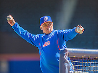 21 April 2013: New York Mets Manager Terry Collins throws batting practice prior to a game against the Washington Nationals at Citi Field in Flushing, NY. The Mets shut out the visiting Nationals 2-0, taking the rubber match of their 3-game weekend series. Mandatory Credit: Ed Wolfstein Photo *** RAW (NEF) Image File Available ***