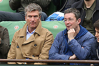 Philippe Caroit and Frederic Bouraly watching tennis during Roland Garros tennis open 2016 on may 29 2016.