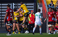 The Hurricanes celebrate Julian Savea's try during the Super Rugby Aotearoa match between the Hurricanes and Crusaders at Sky Stadium in Wellington, New Zealand on Sunday, 11 April 2020. Photo: Dave Lintott / lintottphoto.co.nz