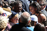 First Lady Michelle Obama shakes hands following a rally Wednesday morning, Oct. 3, 2012, on the quad at the University of Nevada, Reno campus..Photo by Cathleen Allison