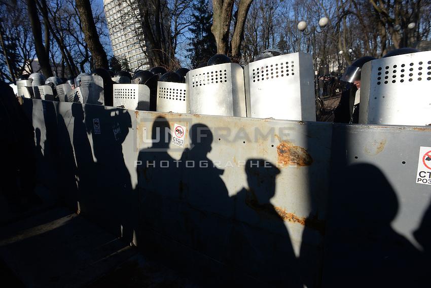A riot police line behind their shields. Kiev, Ukraine