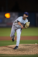 Lancaster JetHawks relief pitcher Rayan Gonzalez (43) follows through on his delivery during a California League game against the Inland Empire 66ers at San Manuel Stadium on May 18, 2018 in San Bernardino, California. Lancaster defeated Inland Empire 5-3. (Zachary Lucy/Four Seam Images)