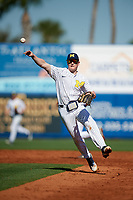 Michigan Wolverines shortstop Jack Blomgren (18) throws to first base during a game against Army West Point on February 18, 2018 at Tradition Field in St. Lucie, Florida.  Michigan defeated Army 7-3.  (Mike Janes/Four Seam Images)