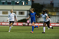 Seattle, WA - Saturday April 15, 2017: Beverly Yanez, Kayla Mills during a regular season National Women's Soccer League (NWSL) match between the Seattle Reign FC and Sky Blue FC at Memorial Stadium.