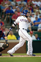 Texas Rangers outfielder and reigning American League MVP Josh Hamilton #32 at bat during the Major League Baseball game against the Texas Rangers at the Rangers Ballpark in Arlington, Texas on July 27, 2011. Minnesota defeated Texas 7-2.  (Andrew Woolley/Four Seam Images)