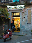 Italy, Calabria, Stilo: old town, cafe at night. Small town at Monte Consolino