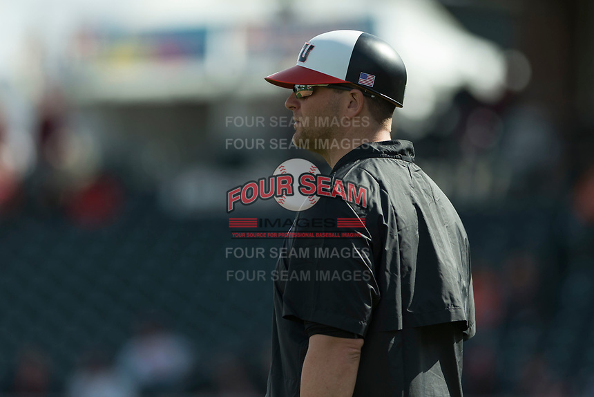 Oregon State Beavers assistant coach Andy Jenkins coaches third base during a game against the New Mexico Lobos on February 15, 2019 at Surprise Stadium in Surprise, Arizona. Oregon State defeated New Mexico 6-5. (Zachary Lucy/Four Seam Images)