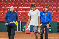 The Hague, The Netherlands, September 11, 2017,  Sportcampus , Davis Cup Netherlands - Chech Republic, training, Robin Haase (NED) with coach Raymond Knaap (NED) and captain Paul Haarhuis (R)<br /> Photo: Tennisimages/Henk Koster
