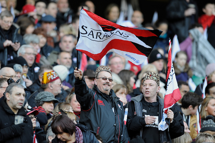 Saracens fans enjoy the atmosphere during the Heineken Cup quarter final match between Saracens and Ulster Rugby at Twickenham Stadium on Saturday 6th April 2013 (Photo by Rob Munro)