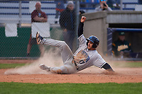 Lake County Captains third baseman Jesse Berardi (17) slides across home plate during a Midwest League game against the Beloit Snappers at Pohlman Field on May 6, 2019 in Beloit, Wisconsin. Lake County defeated Beloit 9-1. (Zachary Lucy/Four Seam Images)
