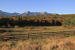 Sneffels Range with Aspen trees in autumn colors. John offers autumn photo tours throughout Colorado.