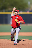 Los Angeles Angels of Anaheim pitcher Aaron Cox (39) during an Instructional League game against the Colorado Rockies on October 6, 2016 at the Tempe Diablo Stadium Complex in Tempe, Arizona.  (Mike Janes/Four Seam Images)