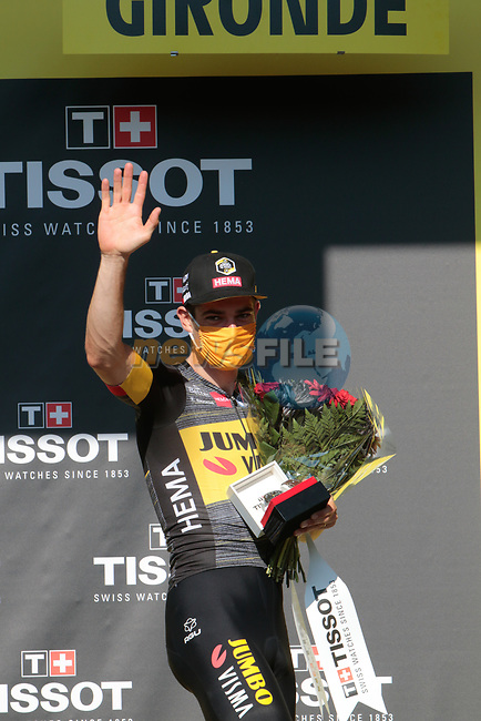 Wout Van Aert (BEL) Jumbo-Visma wins Stage 20 and a Tissot watch to commemorate the stage win of the 2021 Tour de France, an individual time trial running 30.8km from Libourne to Saint-Emilion, France. 17th July 2021.  <br /> Picture: Colin Flockton | Cyclefile<br /> <br /> All photos usage must carry mandatory copyright credit (© Cyclefile | Colin Flockton)