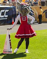 The North Carolina State Wolfpack mascot. The North Carolina Wolfpack defeated the Pitt Panthers 35-17 at Heinz Field, Pittsburgh, PA on October 14, 2017.