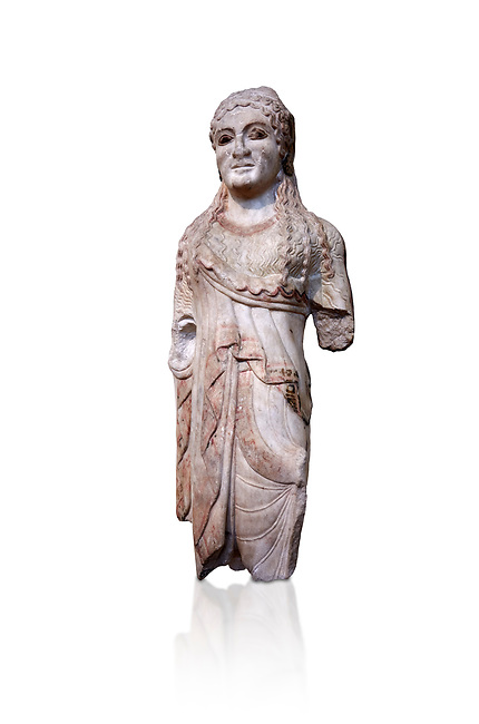 Ancient Greek Archaic statuette of a  kore, found in the Acropolis Athens, 500-490 BC, Athens National Archaeological Museum. Cat no BE 15/2009. Against white.<br /> <br /> The kore statues hair is adorned with a wreath and her ears by round disk earings. Traces of paint can be found on her garments and jewellery. Red paint was found on her hair and eyes. Acropolis Museum Cat no 676, 257