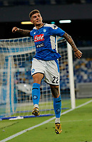 Giovanni Di Lorenzo of Napoli celebrates after scores during the  italian serie a soccer match,  SSC Napoli - AC Milan       at  the San  Paolo   stadium in Naples  Italy , July 12, 2020