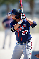 Minnesota Twins Alex Kirilloff (27) during a Minor League Spring Training game against the Tampa Bay Rays on March 17, 2018 at CenturyLink Sports Complex in Fort Myers, Florida.  (Mike Janes/Four Seam Images)