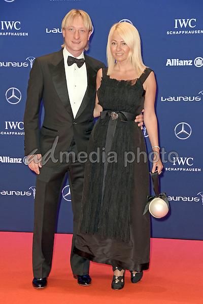"Jewgeni Wiktorowitsch Pljuschtschenko with Ehefrau Yana Rudkovskaya attending the ""Laureus World Sports Awards 2016"" at the Messehallen in Berlin, Germany, 18.04.2016.<br /> Credit: E. Fischer/face to face/AdMedia"