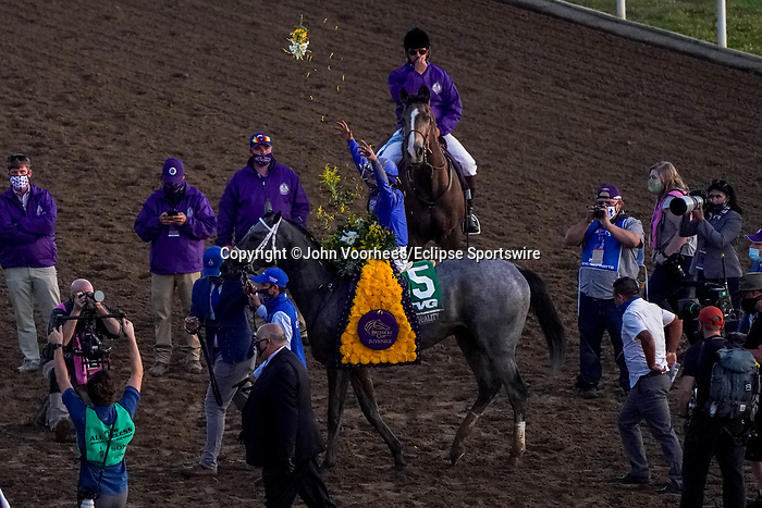 November 6, 2020: Essential Quality, ridden by Luis Saez, wins the TVG Juvenile Presented By Thoroughbred Aftercare Alliance on Breeders' Cup Championship Friday at Keeneland on November 6, 2020: in Lexington, Kentucky. John Voorhees/Eclipse Sportswire/Breeders Cup/CSM