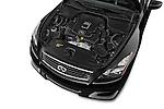 Car stock 2015 Infiniti Q60 Ipl 2 Door Convertible engine high angle detail view