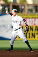 Charlotte Stone Crabs shortstop Jake Hager #2 during a game against the Palm Beach Cardinals at Charlotte Sports Park on April 7, 2013 in Port Charlotte, Florida.  Palm Beach defeated Charlotte 8-1.  (Mike Janes/Four Seam Images)