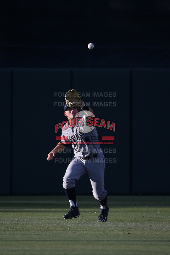 Evan Cassolato (8) of the UC Irvine Anteaters catches a fly ball during a game against the Southern California Trojans at Dedeaux Field on April 18, 2017 in Los Angeles, California. UC Irvine defeated Southern California, 14-3. (Larry Goren/Four Seam Images)