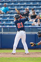 Nick Longhi (21) of the Salem Red Sox at bat against the Lynchburg Hillcats at LewisGale Field at Salem Memorial Baseball Stadium on August 7, 2016 in Salem, Virginia.  The Red Sox defeated the Hillcats 11-2.  (Brian Westerholt/Four Seam Images)