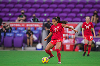 ORLANDO, FL - FEBRUARY 24: Jordyn Listro #21 of the CANWNT dribbles the ball during a game between Brazil and Canada at Exploria Stadium on February 24, 2021 in Orlando, Florida.