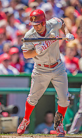 26 May 2013: Philadelphia Phillies infielder Kevin Frandsen gets hit by a pitch during game action against the Washington Nationals at Nationals Park in Washington, DC. The Nationals defeated the Phillies 6-1, taking the rubber game of their 3-game weekend series. Mandatory Credit: Ed Wolfstein Photo *** RAW (NEF) Image File Available ***
