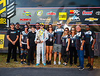 Sep 17, 2017; Concord, NC, USA; NHRA pro stock driver Tanner Gray celebrates with family and crew after winning the Carolina Nationals at zMax Dragway. Mandatory Credit: Mark J. Rebilas-USA TODAY Sports