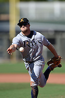 Salt River Rafters second baseman Ryan Brett (8), of the Tampa Bay Rays organization, during an Arizona Fall League game against the Surprise Saguaros on October 14, 2013 at Surprise Stadium in Surprise, Arizona.  Salt River defeated Surprise 3-2.  (Mike Janes/Four Seam Images)