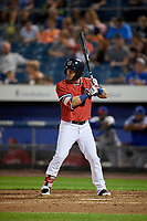 Syracuse Chiefs designated hitter Yadiel Hernandez (5) at bat during a game against the Buffalo Bisons on September 2, 2018 at NBT Bank Stadium in Syracuse, New York.  Syracuse defeated Buffalo 4-3.  (Mike Janes/Four Seam Images)