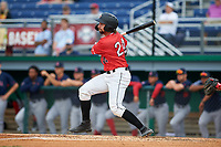 Batavia Muckdogs Harrison Dinicola (24) bats during a NY-Penn League game against the Lowell Spinners on July 11, 2019 at Dwyer Stadium in Batavia, New York.  Batavia defeated Lowell 5-2.  (Mike Janes/Four Seam Images)